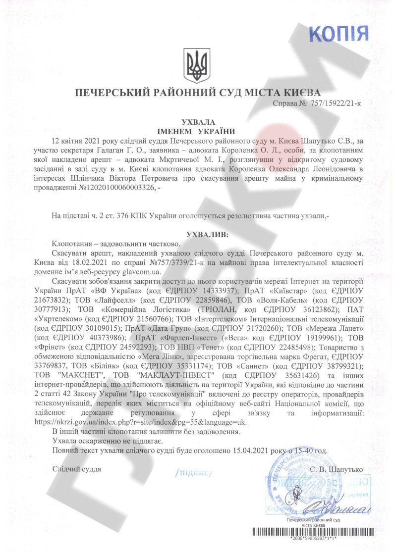 Ухвала Печерського районного суду м. Києва