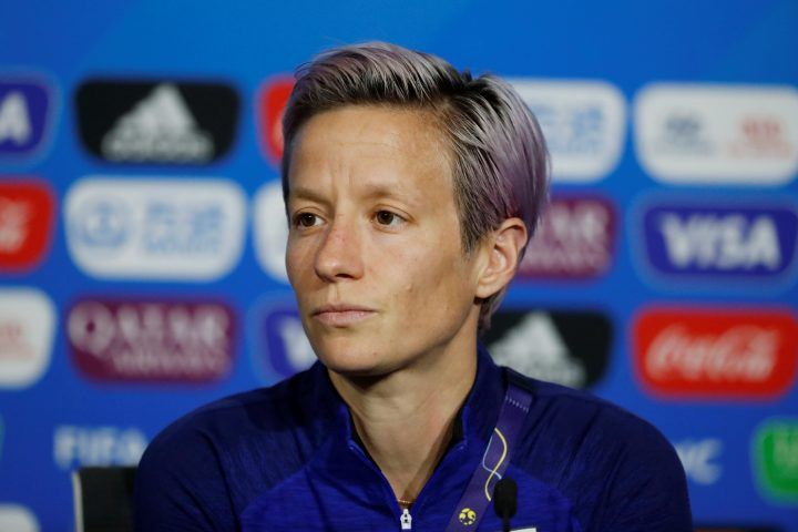 Megan Rapinoe of the U.S. during a press conference at Groupama Stadium, in Lyon, France.