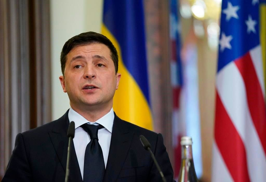 Ukraine's President Volodymyr Zelenskiy speaks during a joint news conference with U.S. Secretary of State Mike Pompeo in Kyiv, Ukraine, Friday Jan. 31, 2020. (Kevin Lamarque/Pool via AP).