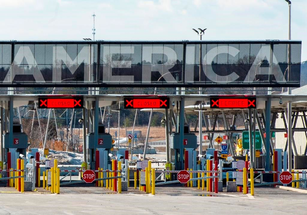 The United States border crossing is seen Wednesday, March 18, 2020 in Lacolle, Que. The Canada-U.S. border will likely be closed to all non-essential travel in both directions as of Friday night. THE CANADIAN PRESS/Ryan Remiorz.