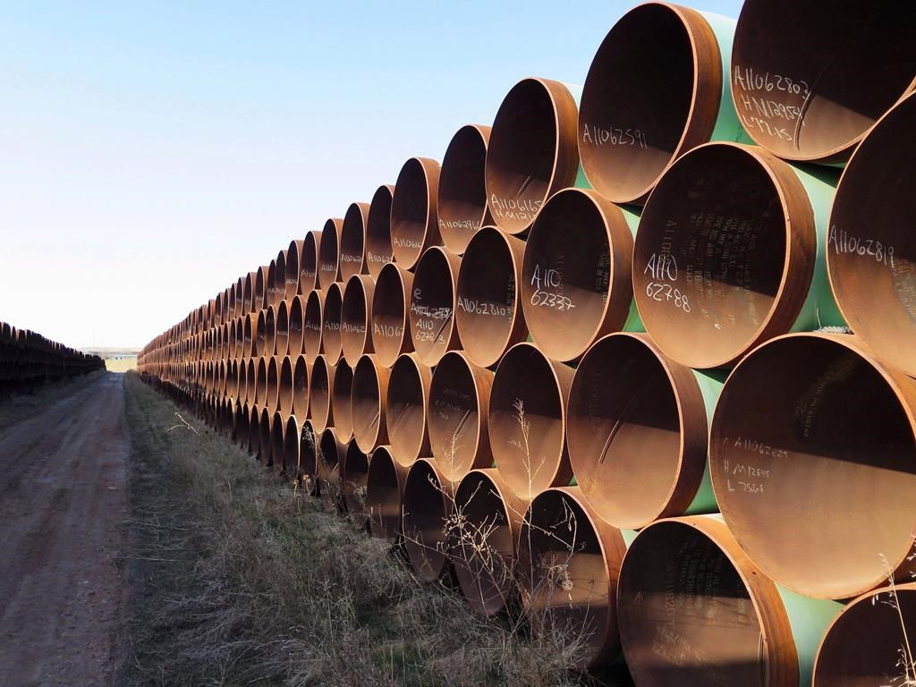 Pipes intended for construction of the Keystone XL pipeline are shown in Gascoyne, N.D. on Wednesday April 22, 2015. A financial analyst says Alberta government backing means TC Energy Corp. will be more likely to continue construction of the Keystone XL pipeline this summer despite Joe Biden's vow to kill it if he is elected president in November. THE CANADIAN PRESS/Alex Panetta.