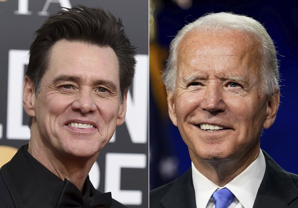 FILE - Actor-comedian Jim Carrey appears at the 76th annual Golden Globe Awards in Beverly Hills, Calif., on Jan. 6, 2019, left, and Democratic presidential candidate former Vice President Joe Biden speaks during the fourth day of the Democratic National Convention, in Wilmington, Del., on Aug. 20, 2020.