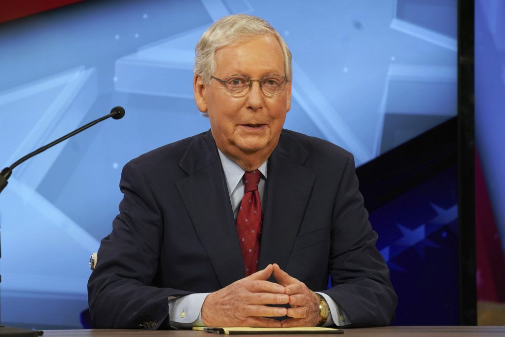 Senate Majority Leader Mitch McConnell, R-Ky., speaks during a debate with opponent Amy McGrath in Lexington, Ky., Monday, Oct. 12, 2020.