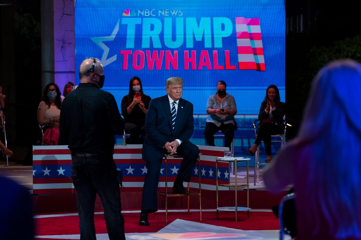 President Donald Trump listens during an NBC News Town Hall, at Perez Art Museum Miami, Thursday, Oct. 15, 2020, in Miami.