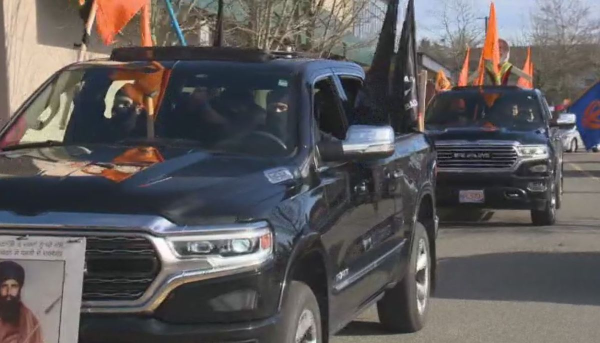 Convoy moves through the streets of Surrey to Vancouver Tuesday to show support for Indian farmers.