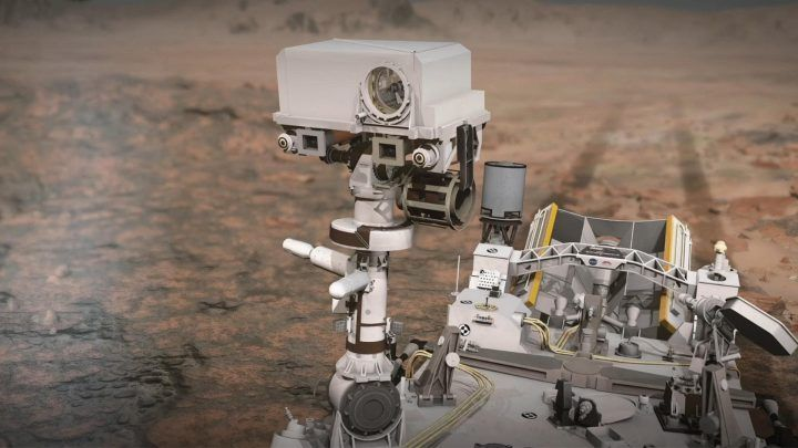 Handout illustration shows Perseverance rover on Mars and how the rover's SuperCam laser instrument works. SuperCam is led by Los Alamos National Laboratory in New Mexico, where the instrument's Body Unit was developed.