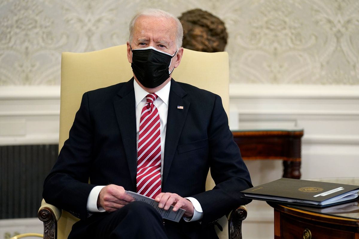 President Joe Biden speaks during a meeting with labour leaders in the Oval Office of the White House, Wednesday, Feb. 17, 2021, in Washington.