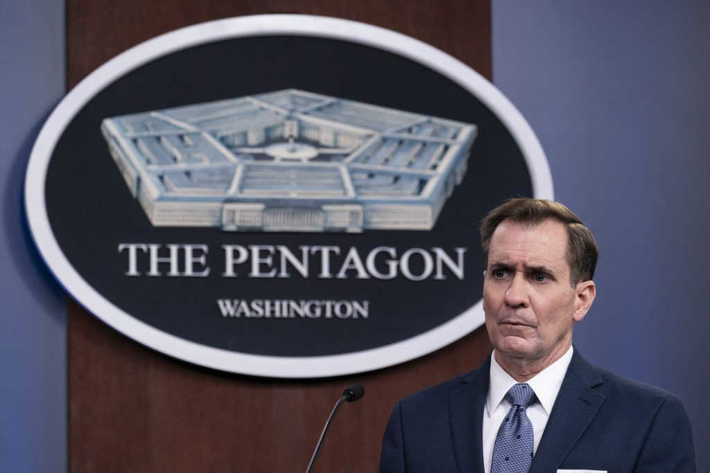 FILE - In this Wednesday, Feb. 17, 2021, file photo, Pentagon spokesman John Kirby speaks during a media briefing at the Pentagon, in Washington. Kirby announced late Thursday, Feb. 25, 2021, that the U.S. military conducted airstrikes against facilities in eastern Syria that the Pentagon said were used by Iran-backed militia groups, in response to recent attacks against U.S. personnel in Iraq. Kirby said the action was authorized by President Joe Biden. (AP Photo/Alex Brandon, File).