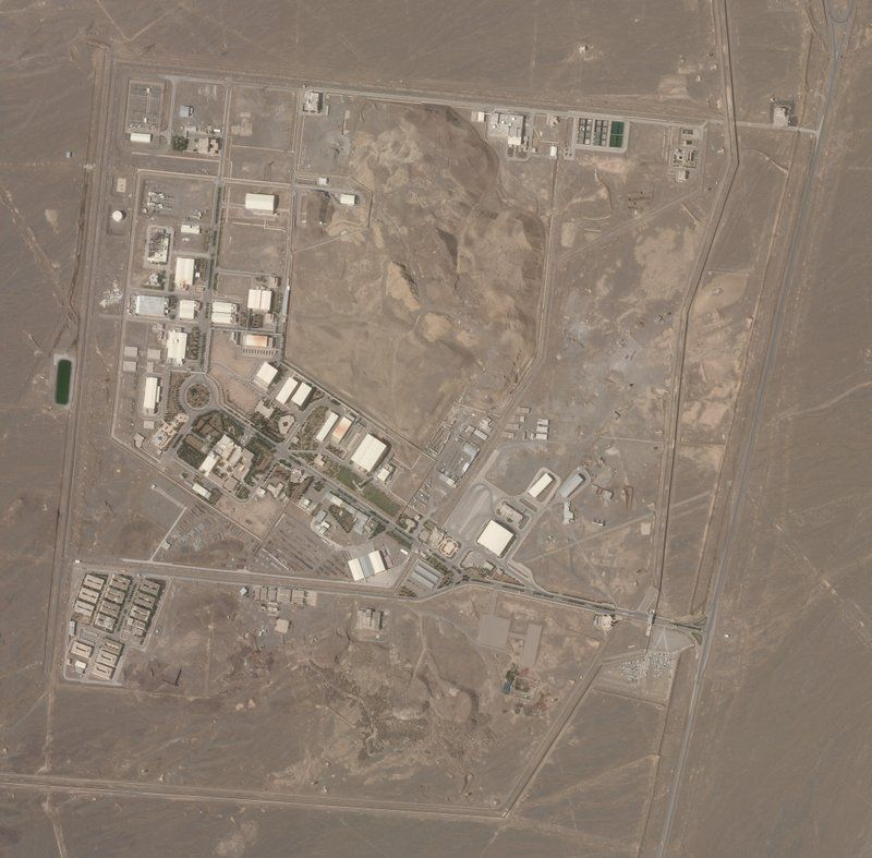 This satellite photo from Planet Labs Inc. shows Iran's Natanz nuclear facility on Wednesday, April 7, 2021. Iran's Natanz nuclear site suffered a problem Sunday, April 11, involving its electrical distribution grid just hours after starting up new advanced centrifuges that more quickly enrich uranium, state TV reported. It was the latest incident to strike one of Tehran's most-secured sites amid negotiations over the tattered atomic accord with world powers. (Planet Labs Inc. via AP).