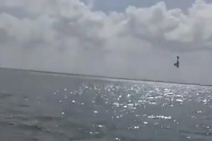 A Cessna is shown moments before it crashed into the Nichupté Lagoon off the east coast of Cancun, Mexico on Mar. 30, 2021.