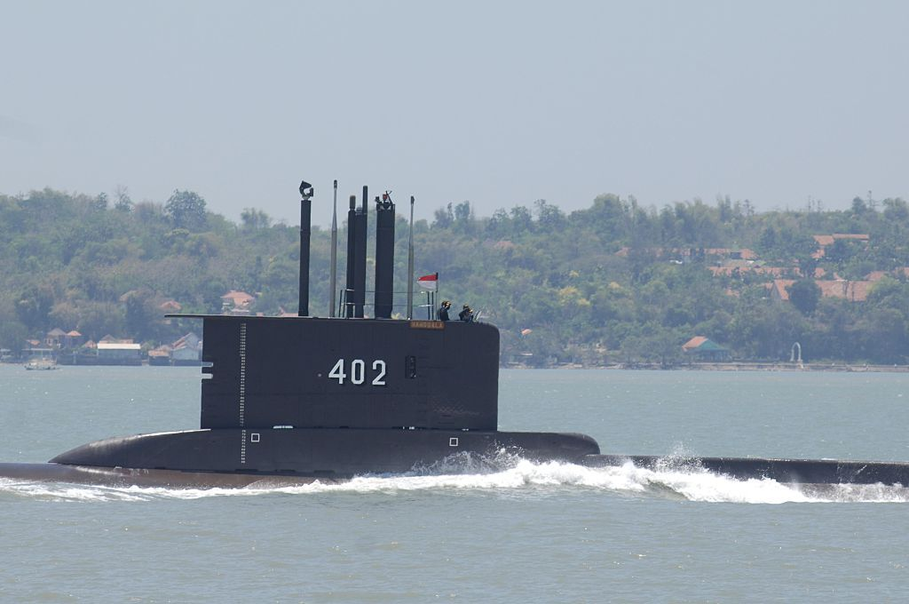 Indonesia submarine KRI Nanggala-402 performs a sailing pass during the preparation for the anniversary of Indonesia Military or Tentara Nasional Indonesia (TNI) at Indonesian Navy Eastern Fleet on Sept. 25, 2014 in Surabaya, East Java, Indonesia.