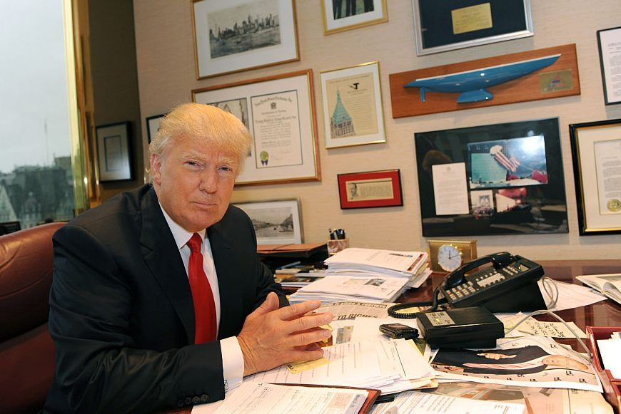 This file photo shows Donald Trump at his desk at Trump Plaza in New York City on May 8, 2013.