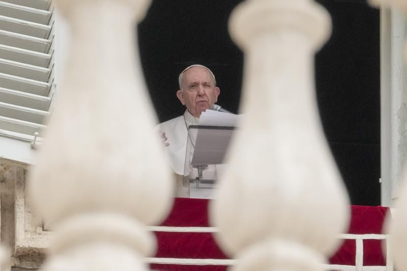 Pope Francis delivers his speech as he recites the Angelus noon prayer from the window of his studio overlooking St.Peter's Square, at the Vatican, Sunday, June 20, 2021.