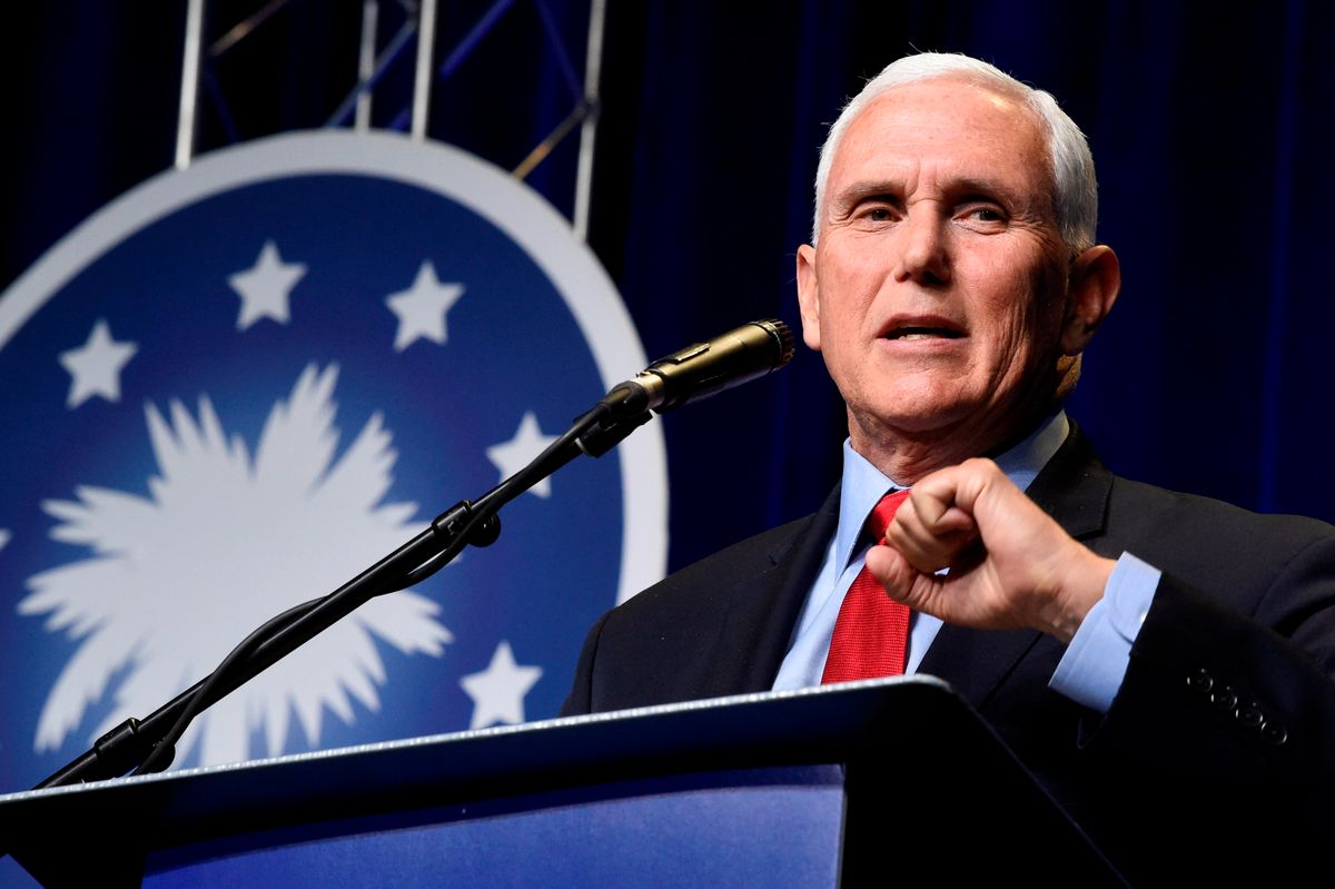 In his first public speech since leaving office, former Vice President Mike Pence speaks at a dinner hosted by Palmetto Family on Thursday, April 29, 2021, in Columbia, S.C.