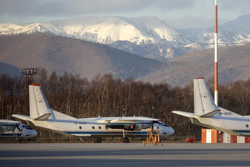 The Antonov An-26 with the same board number #RA-26085 as the missed plane is parked at Airport Elizovo outside Petropavlovsk-Kamchatsky, Russia, Tuesday, Nov. 17, 2020.