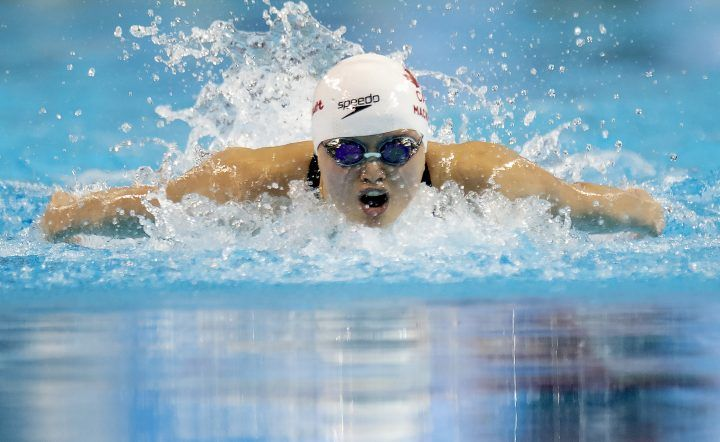 Margaret MacNeil blasts through the water on her way to winning the Women's 100m Butterfly at the 2020 Olympic Swimming Trials in Toronto on Saturday, June 19, 2021. THE CANADIAN PRESS/Frank Gunn.