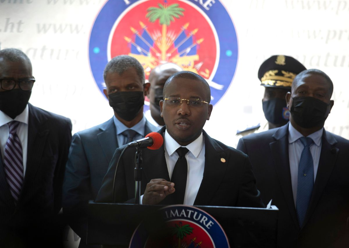 Haiti's interim Prime Minister Claude Joseph gives a press conference in Port-au-Prince, Friday, July 16, 2021, the week after the assassination of Haitian President Jovenel Moïse's on July 7.
