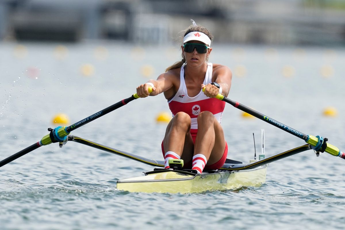 Carling Zeeman, of Canada, competes in the women's single sculls at the 2020 Summer Olympics, Friday, July 23, 2021, in Tokyo, Japan. (AP Photo/Darron Cummings).