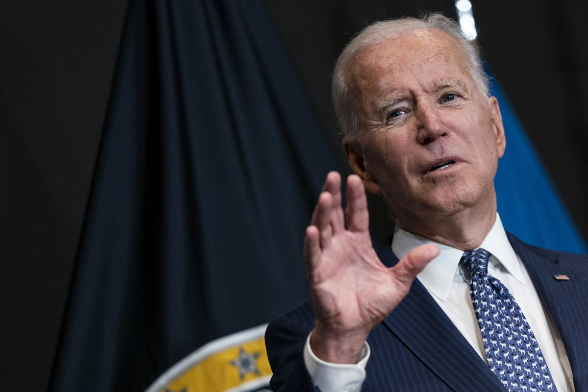 U.S. President Joe Biden delivers remarks to Intelligence Community workforce members at the National Counter Terrorism Center in on Tuesday, July 27, 2021 in McLean, Virginia.