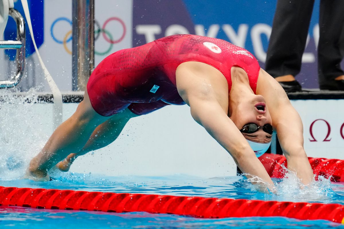 Canada's Kylie Masse competes in the women's 200m backstroke semifinal during the Tokyo Summer Olympic Games, in Tokyo, Friday, July 30, 2021. THE CANADIAN PRESS/Frank Gunn.