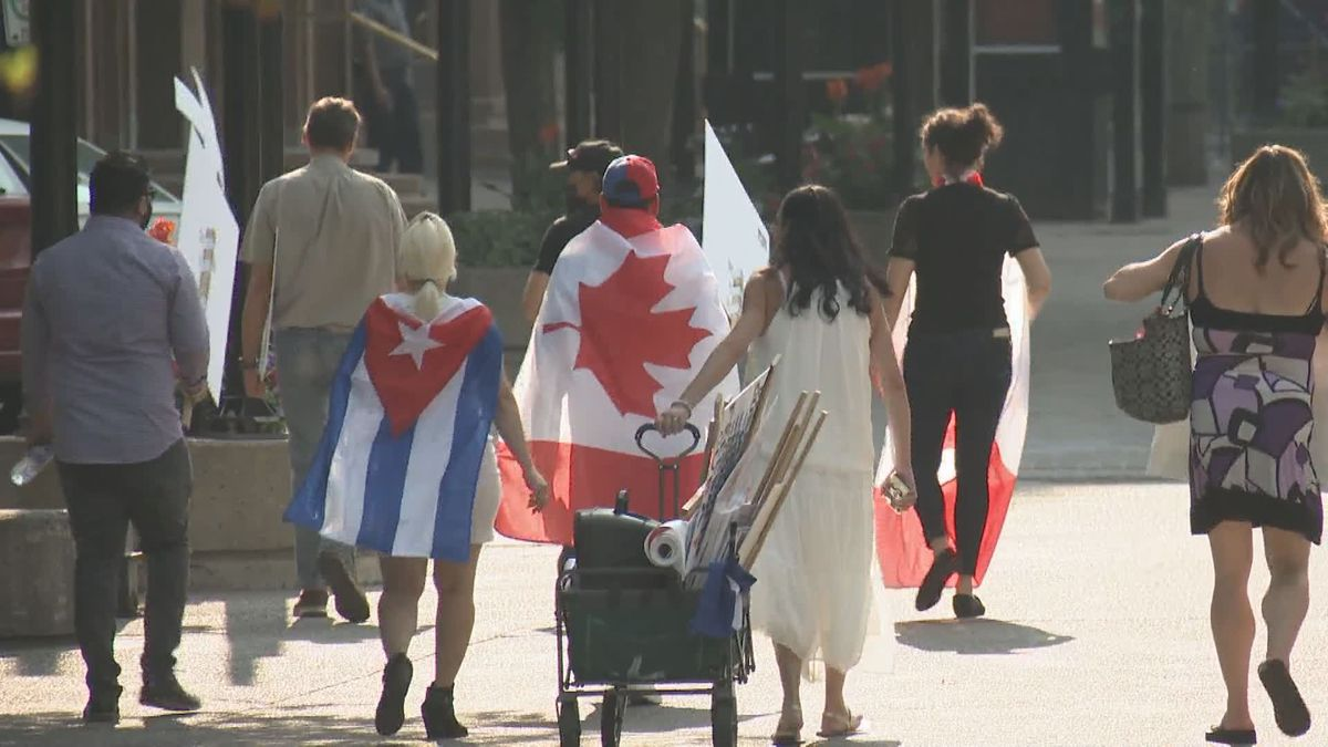 Calgarians with Cuban ties rallied in support of their family and friends back home July 23, 2021.
