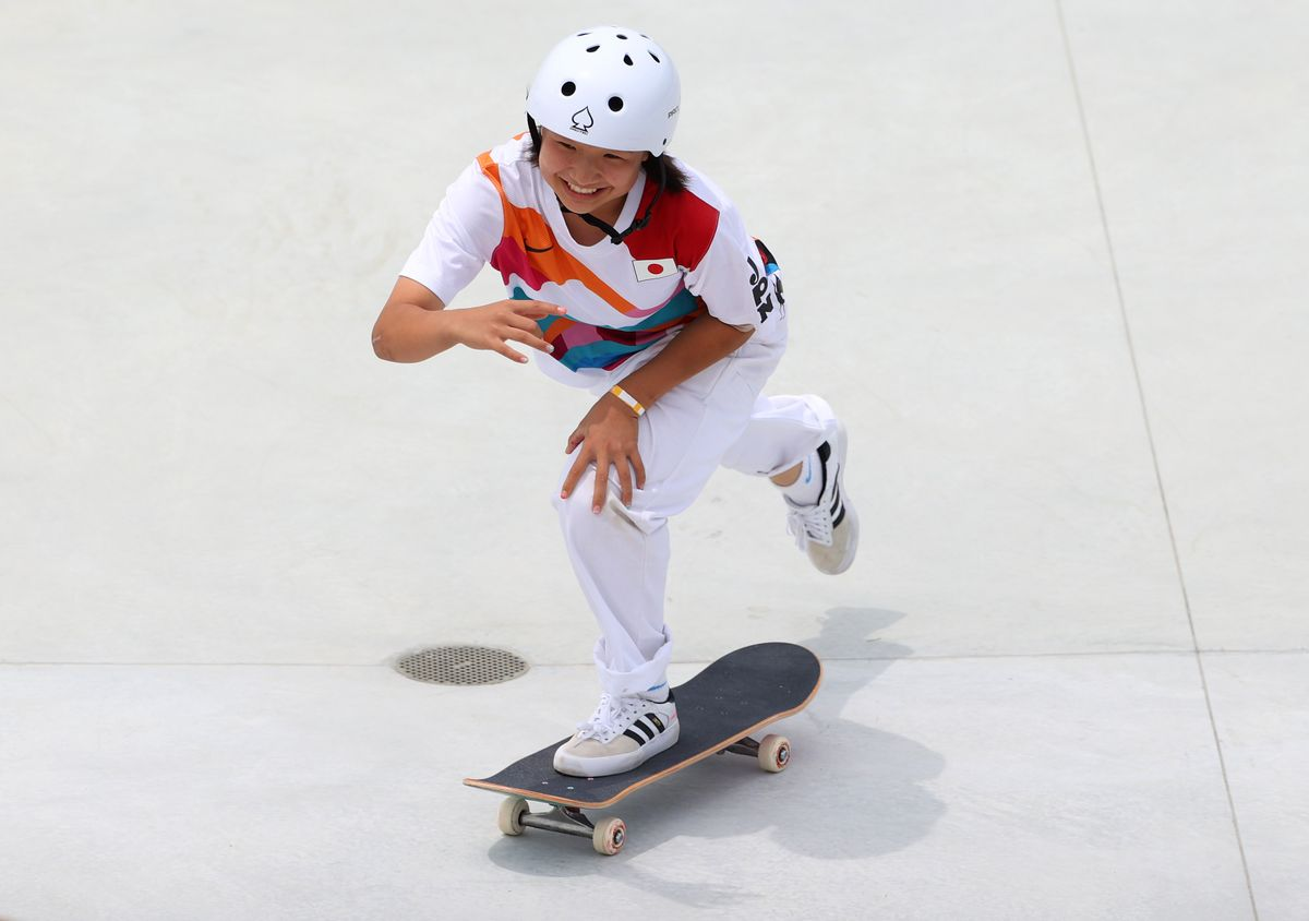Momiji Nishiya of Team Japan competes during the Women's Street Final on day three of the Tokyo 2020 Olympic Games at Ariake Urban Sports Park on July 26, 2021 in Tokyo, Japan.