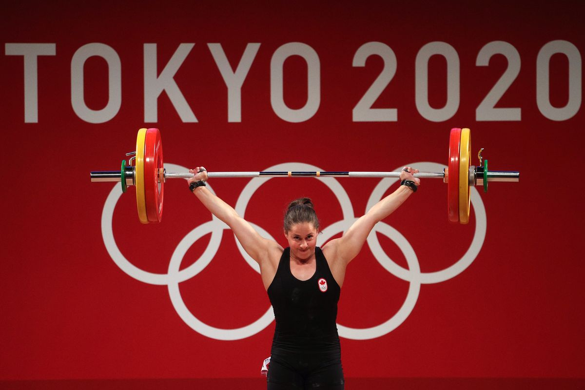 Maude G Charron of Team Canada competes during the Weightlifting - Women's 64kg Group A on day four of the Tokyo 2020 Olympic Games at Tokyo International Forum on July 27, 2021 in Tokyo, Japan.
