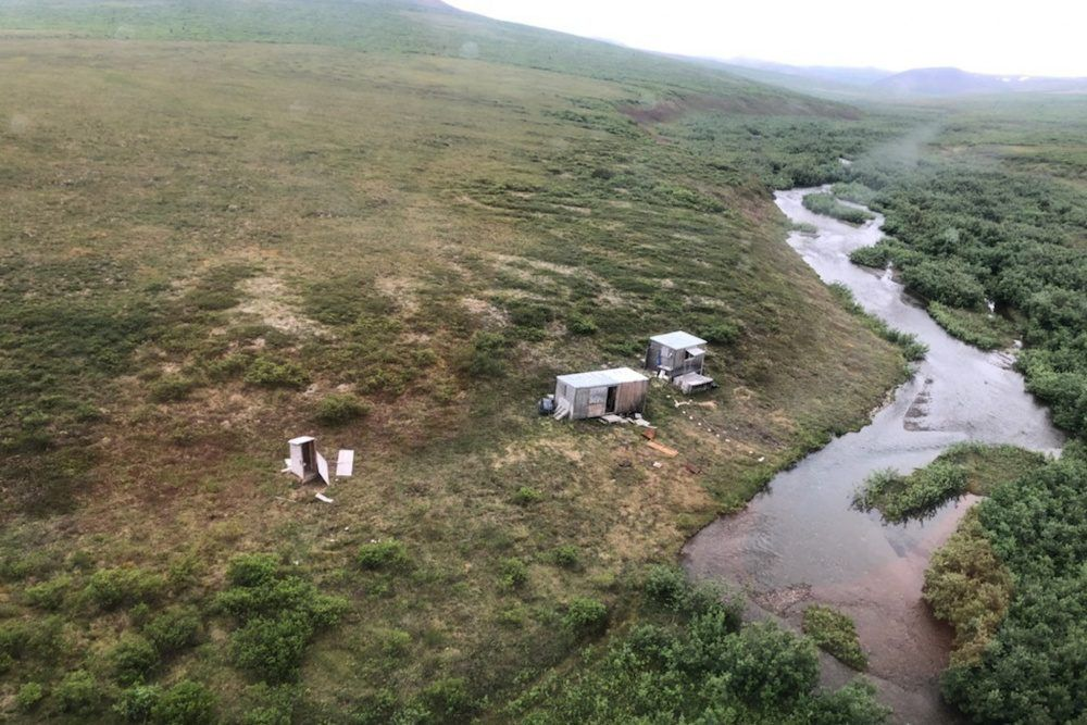 A remote mining camp is shown near Nome, Alaska, where a Coast Guard Air Station Kodiak aircrew rescued the survivor of a bear attack, on July 16, 2021.