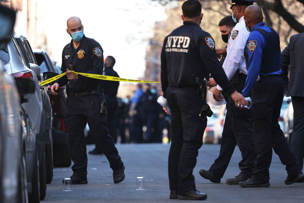 NYPD officers are shown at a crime scene in this file photo from Apr. 6, 2021.