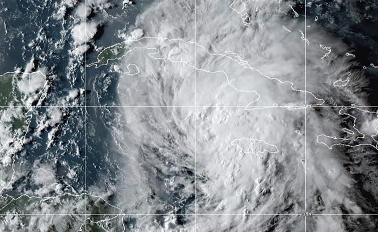 This OES-16 East GeoColor satellite image taken Thursday, Aug. 26, 2021, at 10:20 p.m. EDT, and provided by NOAA, shows Tropical Storm Ida in the Caribbean Sea. Tropical Storm Ida formed in the Caribbean on Thursday and forecasters said its track was aimed at the U.S. Gulf Coast, prompting Louisiana's governor to declare a state of emergency and forecasters to announce a hurricane watch for New Orleans. (NOAA via AP).