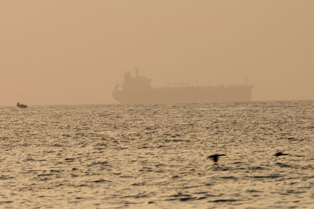 The oil tanker Mercer Street, which came under attack last week off Oman, is seen moored off Fujairah, United Arab Emirates, Aug. 4, 2021.