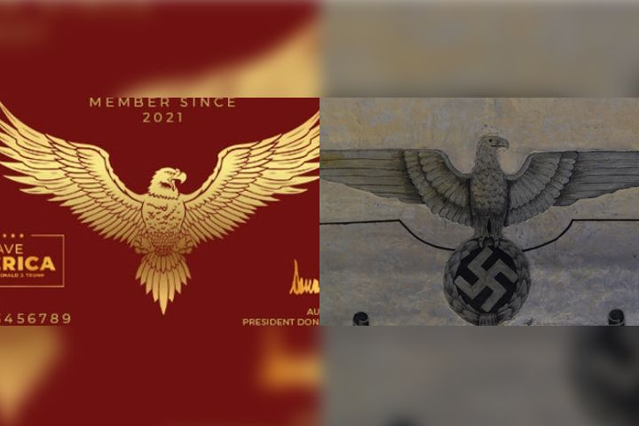 A proposed 'Trump card' design, left, is shown alongside a German eagle and swastika at Fort Breendonk in Belgium.