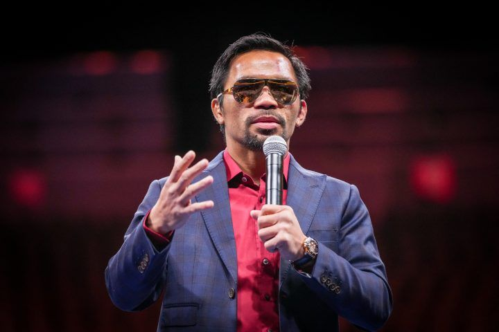 Manny Pacquiao speaks with the press following his loss to Ugas atat T-Mobile Arena for Pacquiao vs. Ugas - Main Event on August 21, 2021 in Las Vegas, NV, USA.