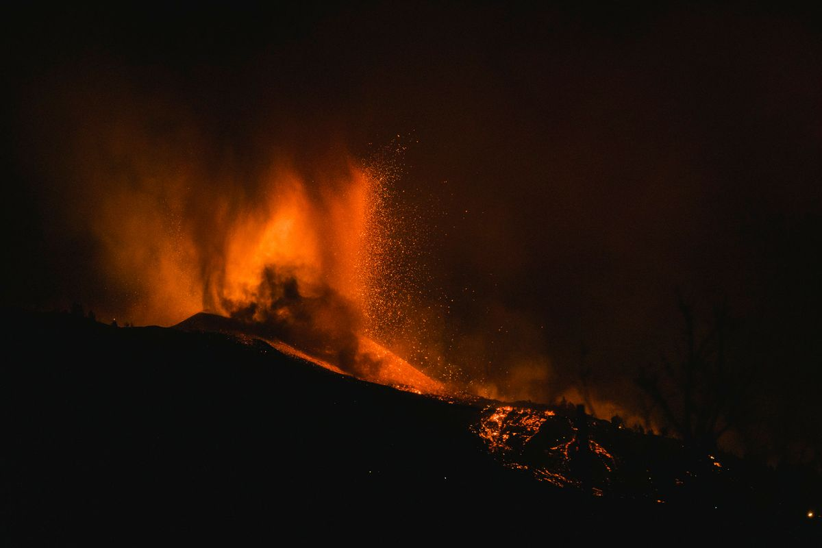 Lava flows from an eruption of a volcano near El Paso on the island of La Palma in the Canaries, Spain, in the early hours of Sept. 20, 2021.