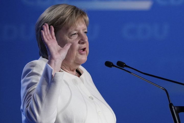 German chancellor Angela Merkel gestures during her speech at a state election campaign in Munich, Germany, Friday, Sept. 24, 2021 two days before the General election on Sunday, Sept. 26, 2021.