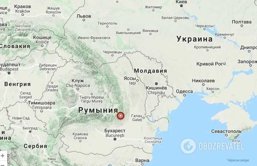 Епіцентр землетрусу в Румунії