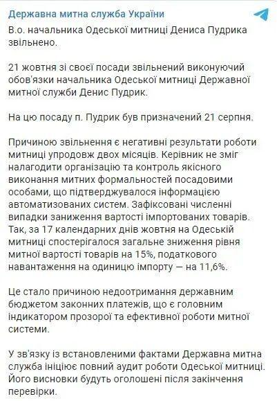 Telegram Державної митної служби.