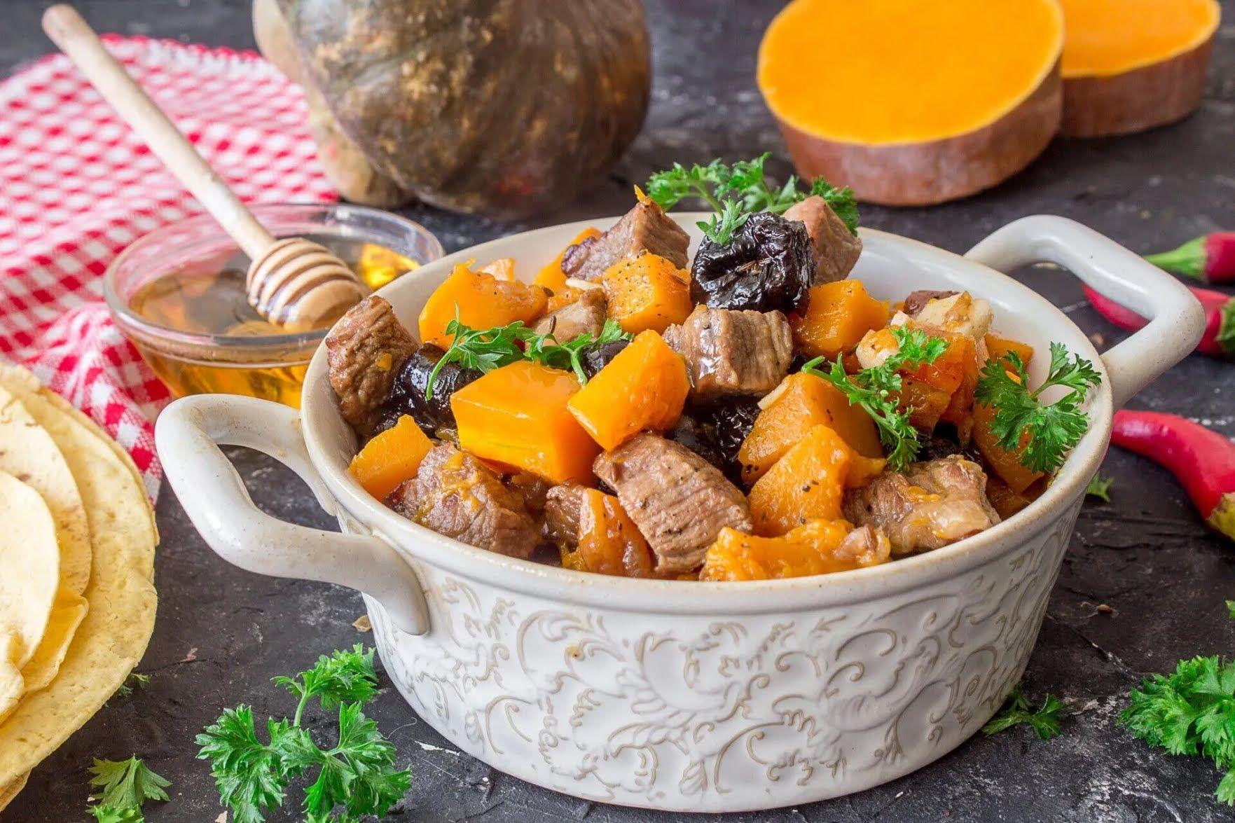 Рагу с тыквой и мясом