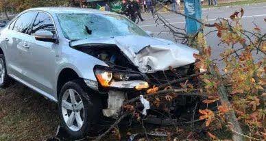 За рулем автомобиля был пьяный полицейский
