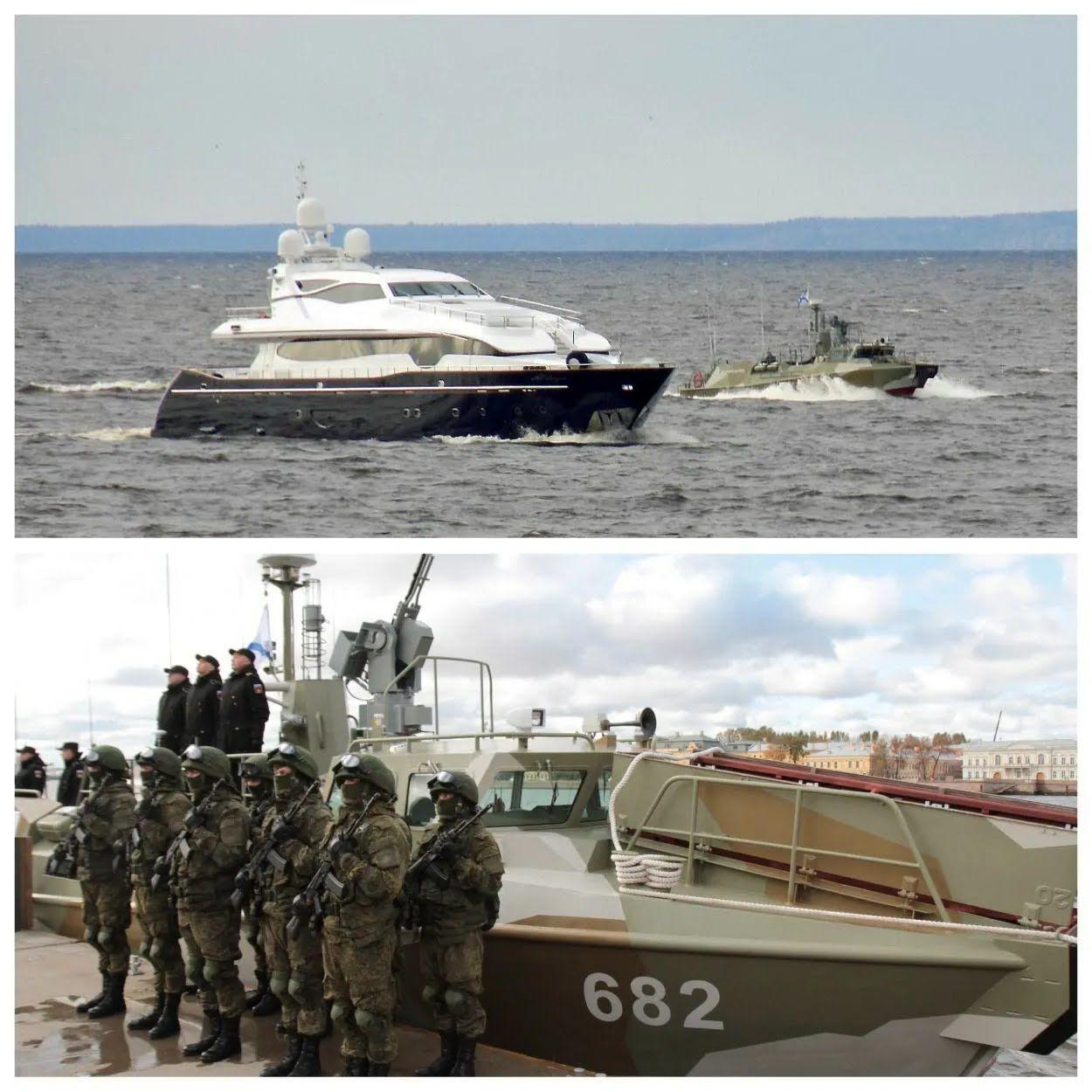 Яхту охраняет противодиверсионный катер