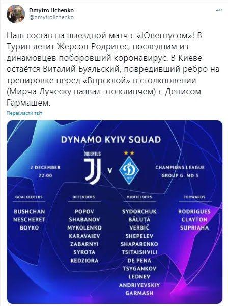 "Заявка ""Динамо"" на матч с ""Ювентусом"""