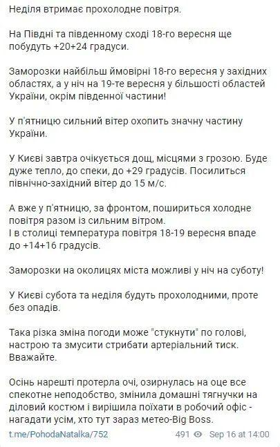 Telegram Наталії Діденко.