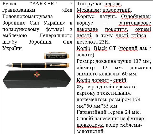 Подарункові ручки, які придбав Генштаб.