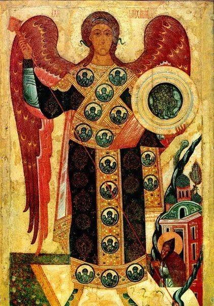 На іконах Архістратиг Михаїл зображується з мечем у руках