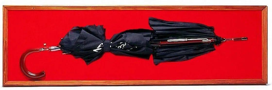Зонт-убийца в Музее международного шпионажа (Вашингтон, США). Часть зонта и ствола срезаны для демонстрации внутреннего устройства оружия.