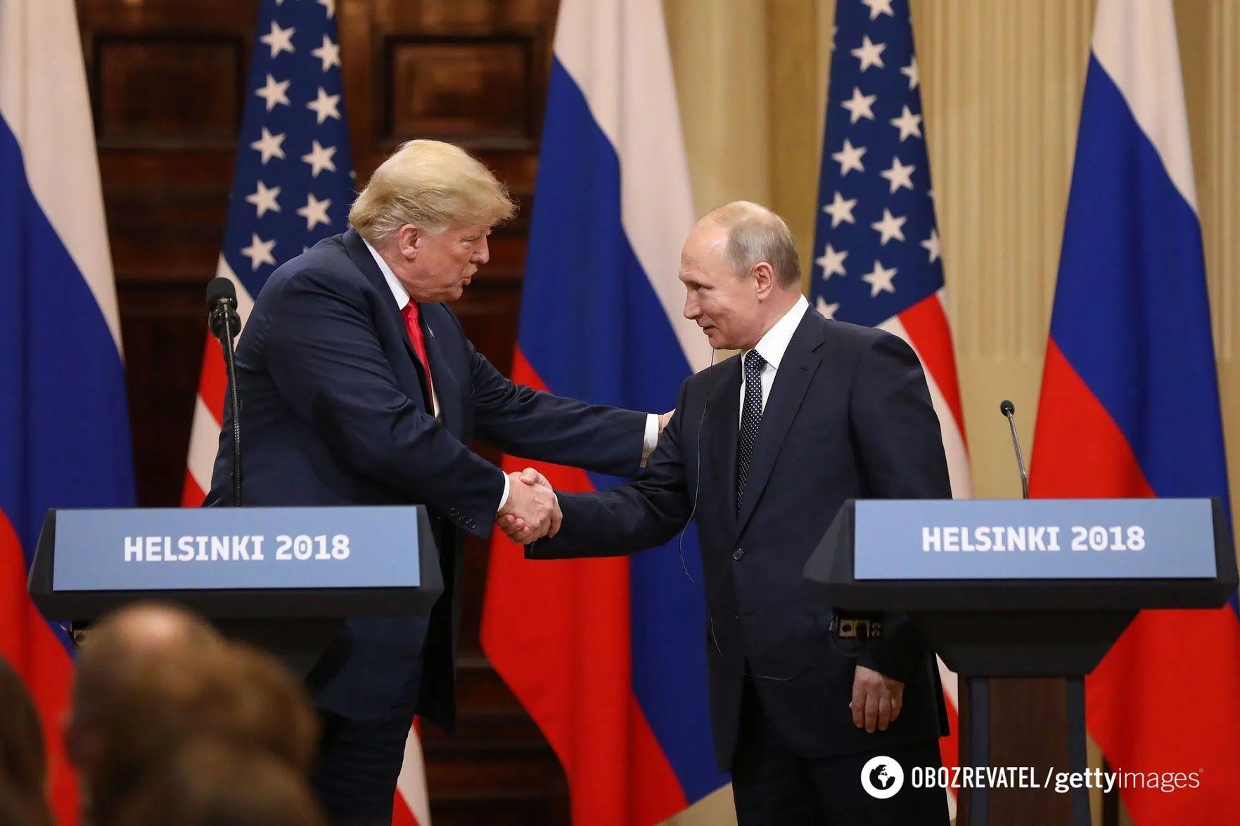 Встреча американского президента Дональда Трампа с главой РФ Владимиром Путиным в Хельсинки 2018 года