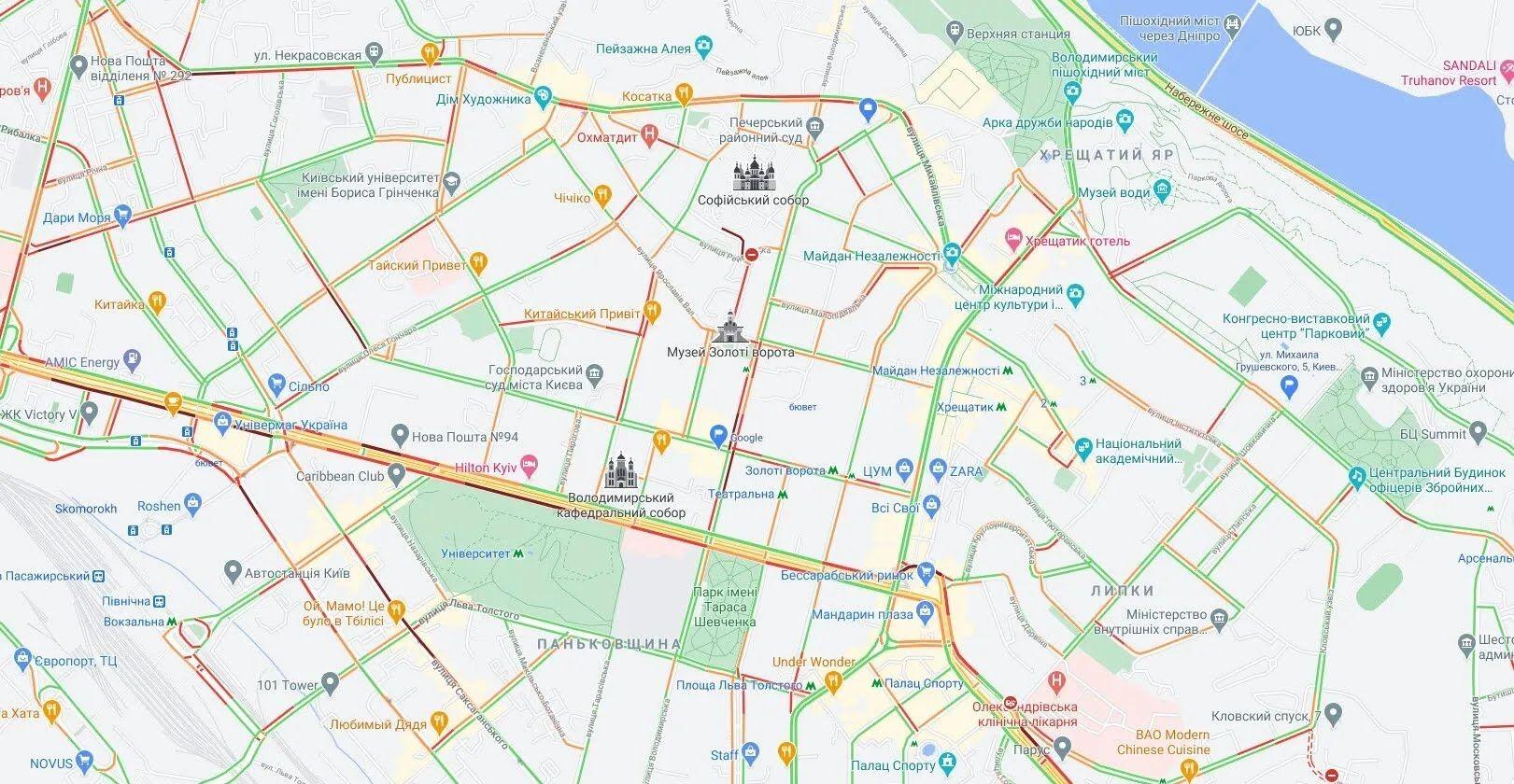 Пробки утворилися в центральній частині Києва.