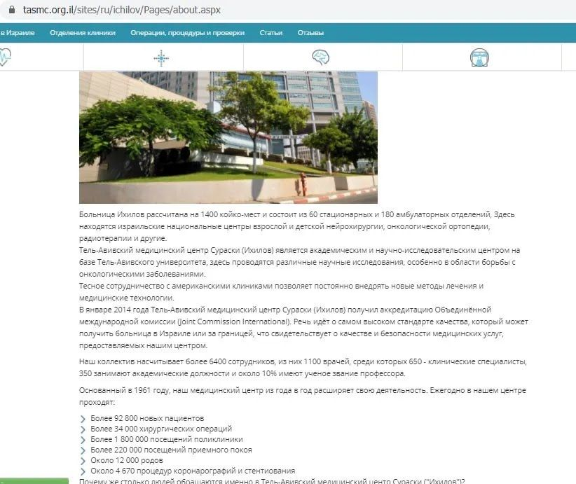 Інформація з реального сайту лікарні Іхілов
