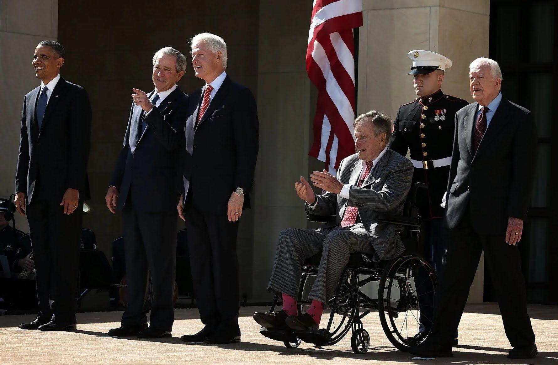 Барак Обама, Джордж Буш-младший, Билл Клинтон, Джордж Бу-старший и Джимми Картер