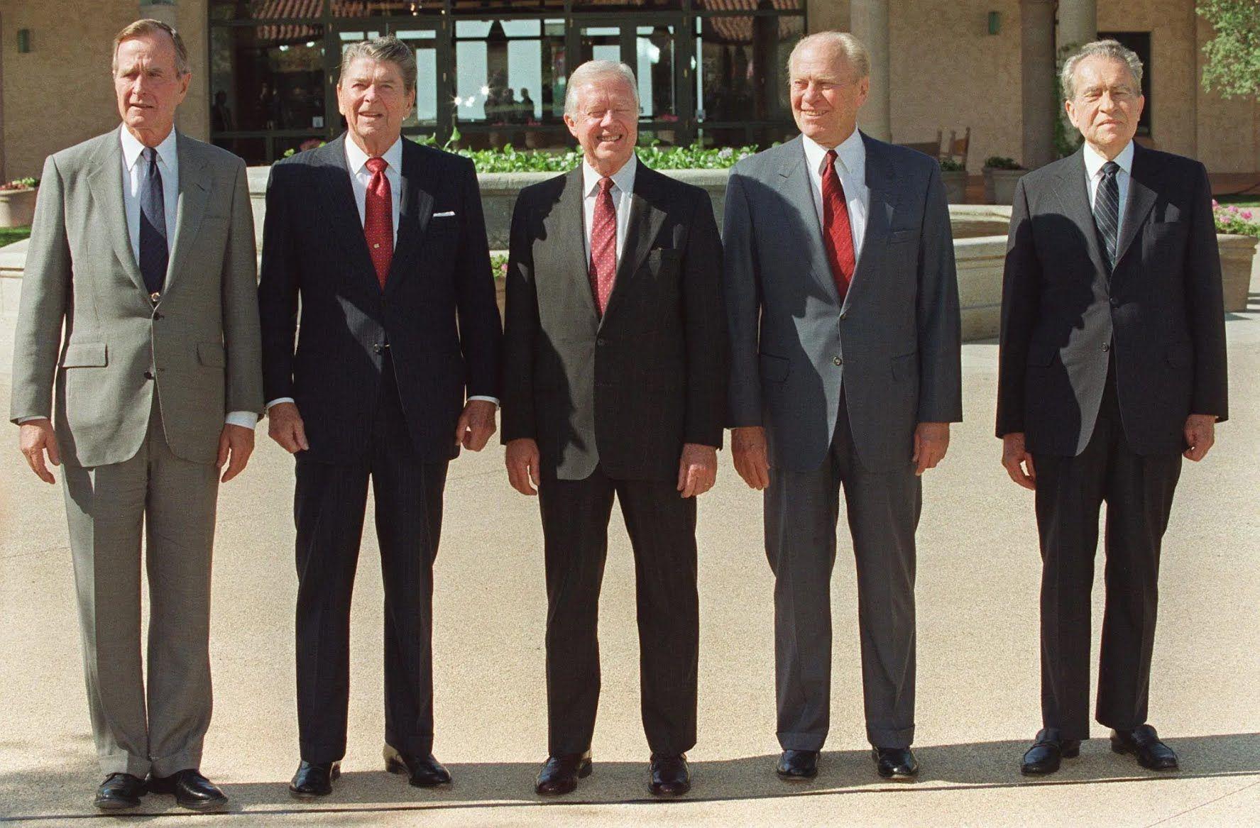 Джордж Буш-старший, Рональд Рейган, Джимми Картер, Джеральд Форд и Ричард Никсон